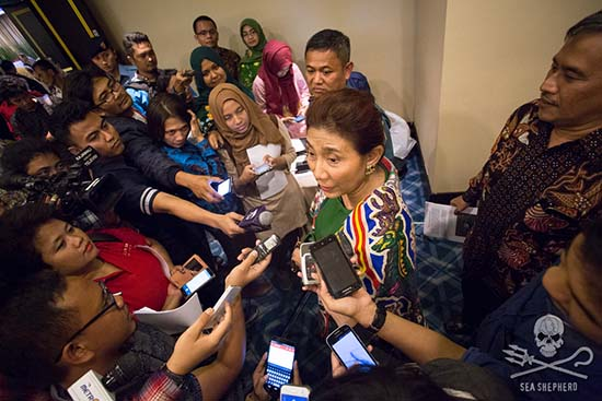Indonesian Fisheries Minister, Susi Pudjiastuti, vows to sink the poaching vessel, Viking, for its crimes.	Photo: Tim Watters