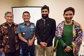 Capt. Sid Chakravarty with Indonesia officials at today's press conference.	 Photo: Tim Watters