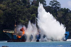 The last of the Bandit 6 tooth fish poaching vessels, Viking, was sunk in Indonesia today. Photo: Gary Stokes
