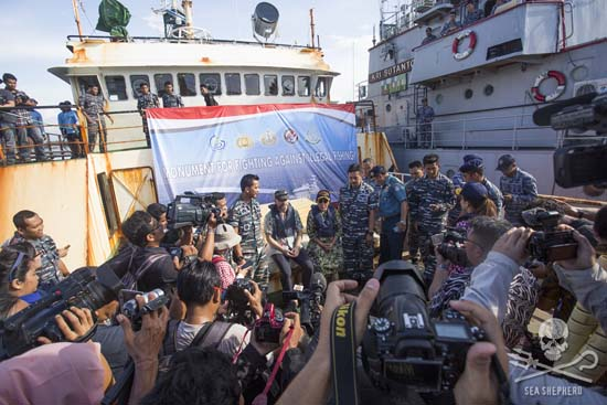 Indonesian Fisheries Minister, Susi Pudjiastuti, stated that the Viking will become a monument to Indonesia's fight against illegal fishing. Photo: Gary Stokes