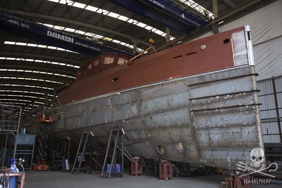 Construction continues on the Ocean Warrior, which is scheduled for launch in September. Photo: Gary Stokes