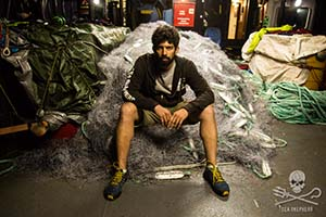 Captain Siddharth Chakravarty with the illegal driftnets confiscated by Sea Shepherd during Operation Driftnet. Photo: Eliza Muirhead