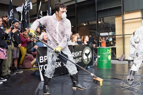 A mock oil spill was staged in the main entrance to BP's head office in Melbourne. Photo: Aaron Stevenson