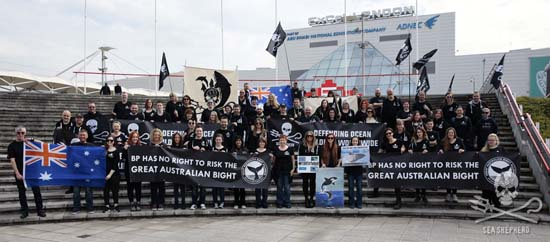 Protesters outside The ExCeL centre in London where BP's AGM was being held.	Photo: Sea Shepherd UK
