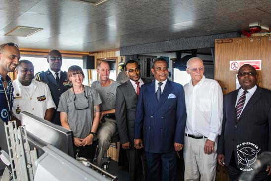 The ministers on the bridge of the Bob Barker after a tour of the ship. Photo: Alejandra Gimeno