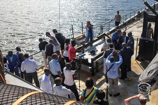 Gabonese ministers and media on board the Sea Shepherd vessel Bob Barker. Photo: Alejandra Gimeno