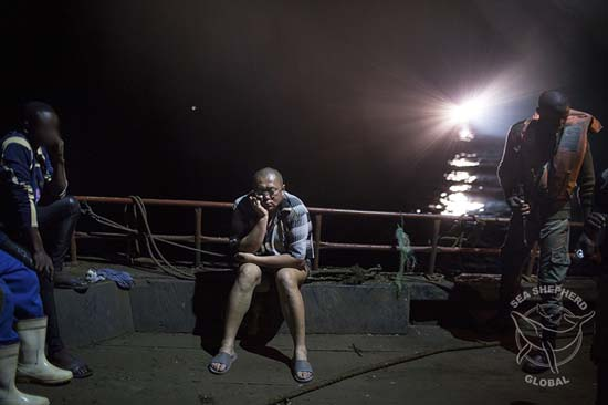 The despondent captain of one of the illegal trawlers following their arrest on Sunday.	 Photo: Denis Sinyakov