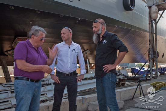 Frank Leeman, one of the founders of the Dutch Postcode Lottery, with Sea Shepherd Global CEO Alex Cornelissen, and Geert Vons, Director of Sea Shepherd Netherlands.