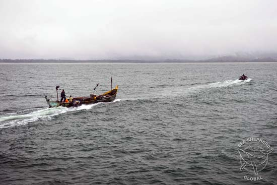 Congolese fishing pirogue escorted into Mayumba estuary