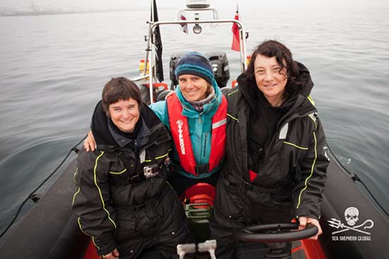 Sea Shepherd Crew of the MV Spitfire from left to right: Celine Le Diouron and Marion Selighini both from France and Captain Jessie Treverton from the UK.