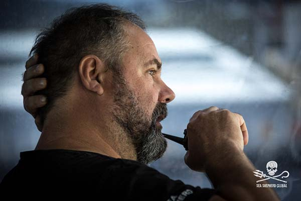 Ocean Warrior Captain Adam Meyerson giving the orders for departure, Dec 4th Photo: Sea Shepherd Global/Simon Ager