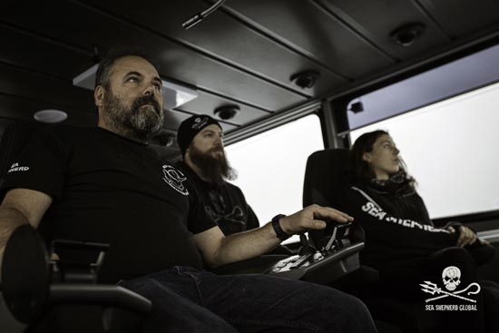 Captain Adam Meyerson and crew on the bridge of the Ocean Warrior. Photo: Sea Shepherd Global / Simon Ager
