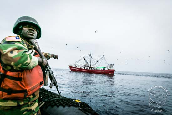 Liberian Coast Guard approach the Star Shrimper XXV. Copyright Michael Rauch/Sea Shepherd Global