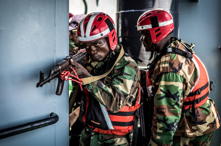 Liberian Coast Guard training on board Sea Shepherd's M/Y Sam Simon. Photo by Melissa Romao/Sea Shepherd.