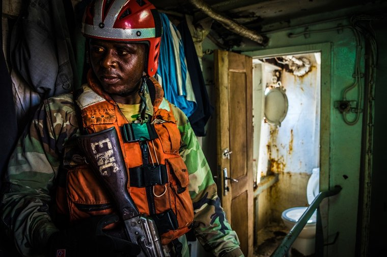 The Liberian Coast Guard inspects the Labiko 2. Photo by Melissa Romao/Sea Shepherd.