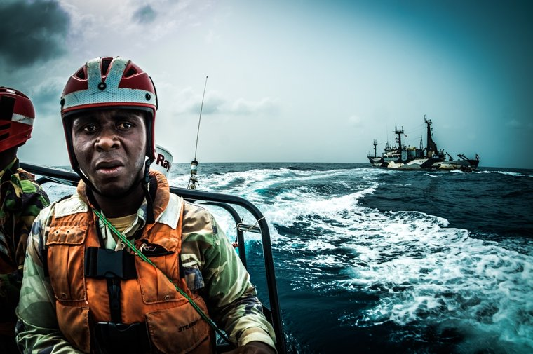 Sea Shepherd assists the Liberian Coast Guard to board the Labiko 2. Photo by Melissa Romao/Sea Shepherd.