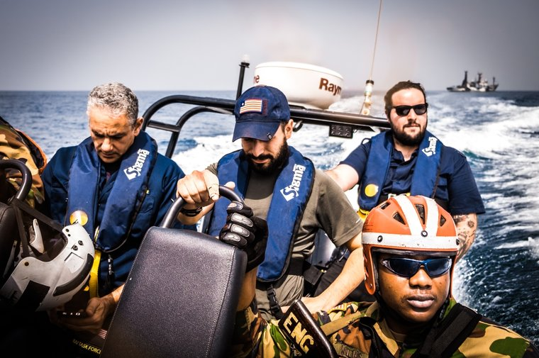 Sea Shepherd crew assists Liberian Coast Guard to Board Guo Ji 809. Photo by Melissa Romao/Sea Shepherd
