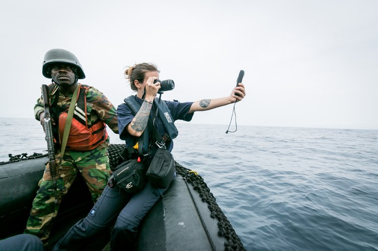 Sea Shepherd crew document the GPS coordinates of the Star Shrimper XXV in Liberian waters. Photo by Michael Rauch/Sea Shepherd.