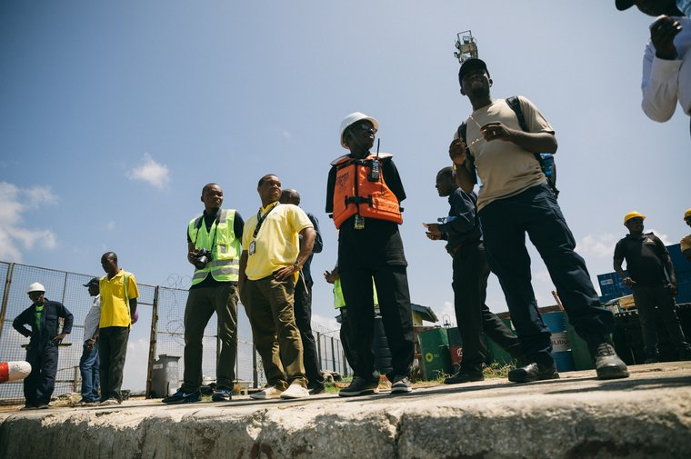 Tanzanian authorities and inspectors at the port in Mtwara. Photo by Jax Oliver/Sea Shepherd.