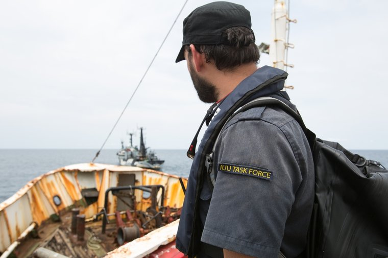 Sea Shepherd's IUU Task Force supports the Liberian Coast Guard in boarding the F/V Hai Lung. Photo by Katie Mähler/Sea Shepherd.