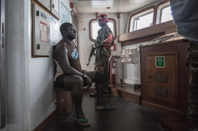The Captain of the F/V Hai Lung being questioned by the Liberian Coast Guard. Photo by Sea Shepherd.