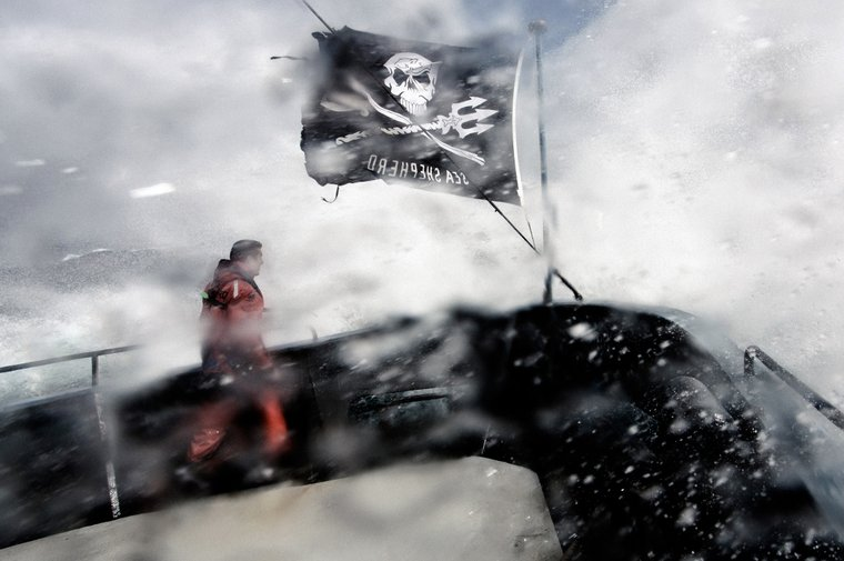 Sea Shepherd Australia's Managing Director, Jeff Hansen, on the bow the Steve Irwin during a storm in the Great Australian Bight during Operation Jeedara 2016.