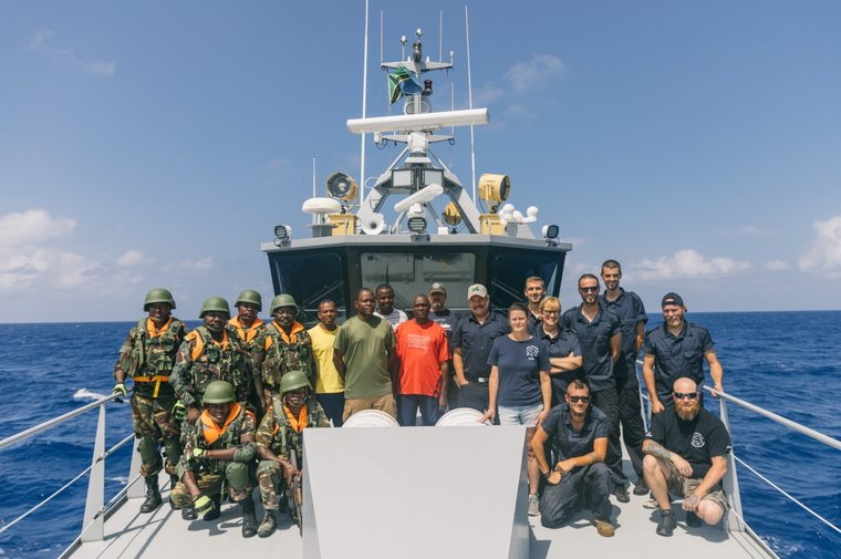 Sea Shepherd crew and Tanzanian partners on the Ocean Warrior for Operation Jodari. Photo Jax Oliver/Sea Shepherd.