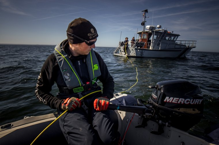 The crew is monitoring nets in an important habitat for harbor porpoises. Photo by Sea Shepherd.