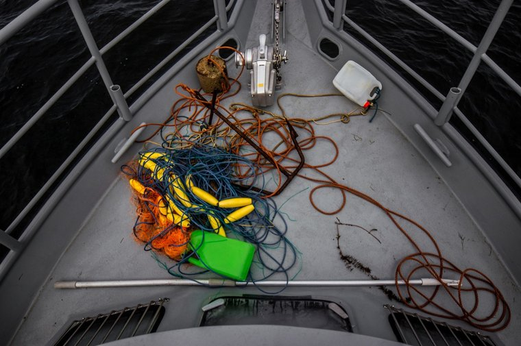 Parts of an abandoned net that were removed by the crew. Photo by Sea Shepherd.