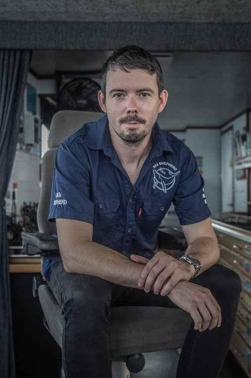 Captain Peter Hammarstedt on the M/Y Bob Barker. Photo by Yagazie Emezi/Sea Shepherd.