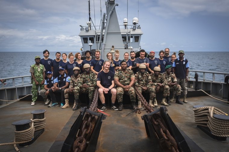 The crew of the M/Y Bob Barker with Captain Anteo Broadfield and Gabonese law enforcement. Photo by Flavio Gasperini/ Sea Shepherd