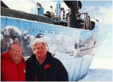 Farley Mowat joined the 1998 Seal Campaign in the Gulf of St. Lawrence