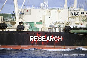 Nisshin Maru research sign painted in red