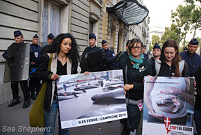 Sea Shepherd and Brigitte Bardot Foundation supporters rally for pilot whales before Danish Embassy in Paris