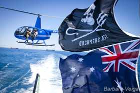 Sea Shepherd and Australian flags with Eye in the Sky Magazine's chopper
