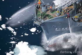 The crew of Yushin Maru No 2 readies their water cannons to engage with Sea Shepherd