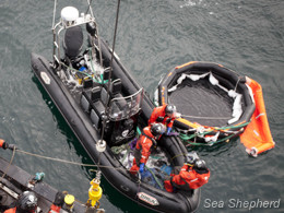 The deck crew and Delta team work together to retrieve the empty life raft. Photo: Barbara Veiga