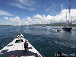 Gojira entering Puerto Ayora in the Galapagos. Photo: Simon Ager