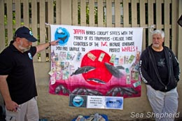 Paul Watson and Sea Shepherd supporter protest outside of the IWC meeting. Photo: Simon Ager