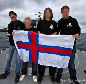 Sea Shepherd's Hall and Hammarstedt joined by Faeroese crewmembers Kamarinum and Bogason