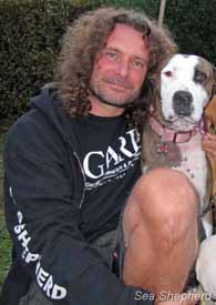 Erwin Vermeulen with his rescue dog, Missy