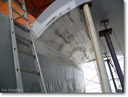 March 6, 2012: Underside of damaged wing with repairs nearing completion.