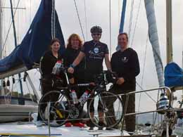 Jason and his bike with fellow Sea Shepherd supporters. Photo: Jason Woodhouse