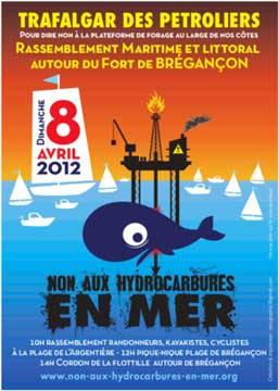 "Poster for opposition of offshore oil drilling ""No hydrocarbons in the sea"""
