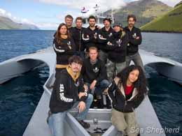 Sea Shepherd crewmembers aboard the Brigitte Bardot in the Faeroe Islands. Photo: Simon Ager