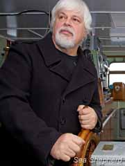 Captain Paul Watson at the helm of the Sea Shepherd flagship,  the Steve Irwin. Photo: Barbara Veiga