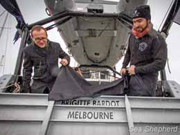 Deputy Green Leader Adam Brandt and Captain Locky Maclean unveil the Brigitte Bardot's new home location, Melbourne, Australia. Photo: Simon Ager