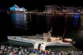 The Brigitte Bardot docked in Sydney, Australia, during a night tour of the ship. Photo: Glenn Lockitch
