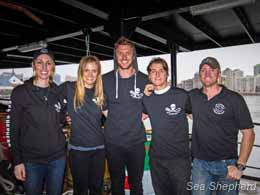Catherine Mack with Sea Shepherd crew members and supporters. Photo: Simon Ager