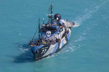 The Sea Shepherd flagship, Steve Irwin, arrives in Broome, Western Australia to support Operation Kimberley Miinimbi. Photo: Bronte Turner for the Bob Brown Foundation
